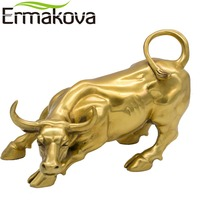 ERMAKOVA Golden Brass Charging Stock Market Bull Figurine Wall Street Bull Ox Statue Feng Shui Scuplture Home Office Decor