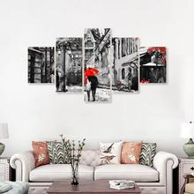 Laeacco London Street Wall Artwork 5 Panel Posters and Prints Abstract Canvas Painting Nordic Home Living Room Decor