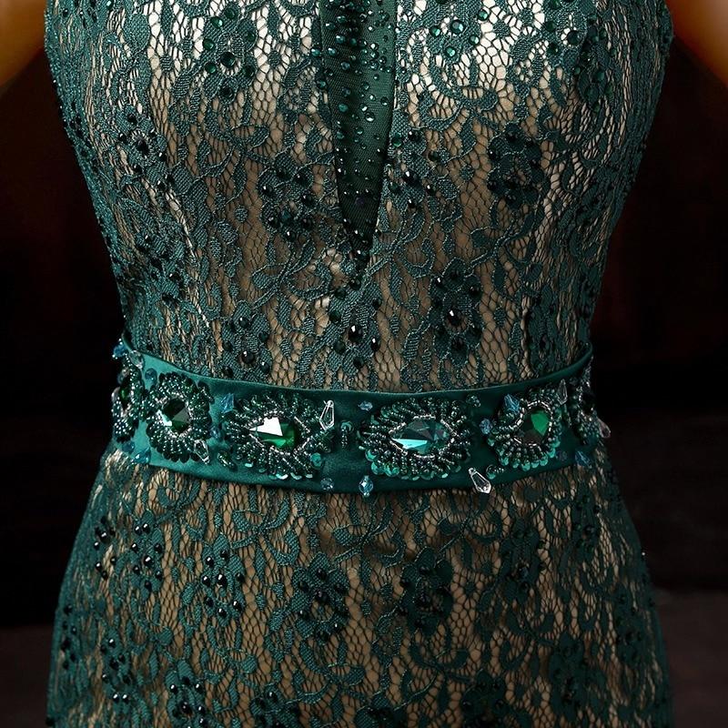 Tamno zelena seksi bez naramenica ular rhinestone rep čipke silm - Nacionalna odjeća - Foto 4