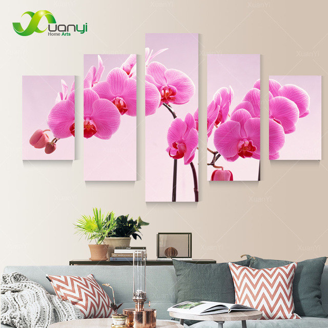 5 Panel New Modern Printed Red Flower Oil Painting Landscape Picture ...
