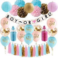 Gender Reveal Decoration Set Baby Shower Pink Blue Gold Confetti Balloons Boy or Girl Banner Paper Lantern Honeycomb Baby Bottle