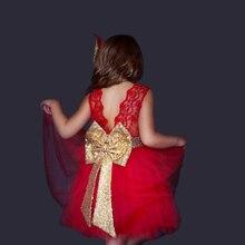 Baby girls clothes flower girls wedding dresses Red bridesmaid Summer big bow dress vestido batizado ropa bebe girl robe bebe