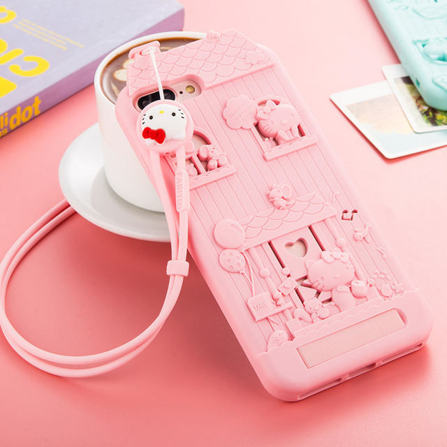 super popular 9b06d 736e5 US $7.6 |For iPhone 7 / For iphone 8 3D Cute Cartoon Fabitoo Hello Kitty  Phone Case Soft Silicone Back Cover With Lanyard-in Fitted Cases from ...