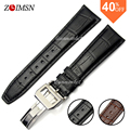 20mm 22mm Mens Italy Belt 100% Genuine Black Leather Watch Band Strap Watchbands FOR IWCWATCH Sport Men Belt Relojes Hombre 2017