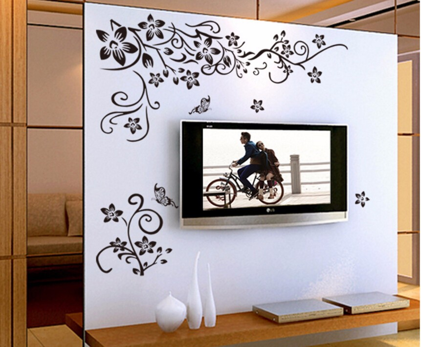 Hot DIY Wall Art Decal Decoration Fashion Romantic Flower Wall Sticker/ Wall Stickers Home Decor 3D Wallpaper Free Shipping 17