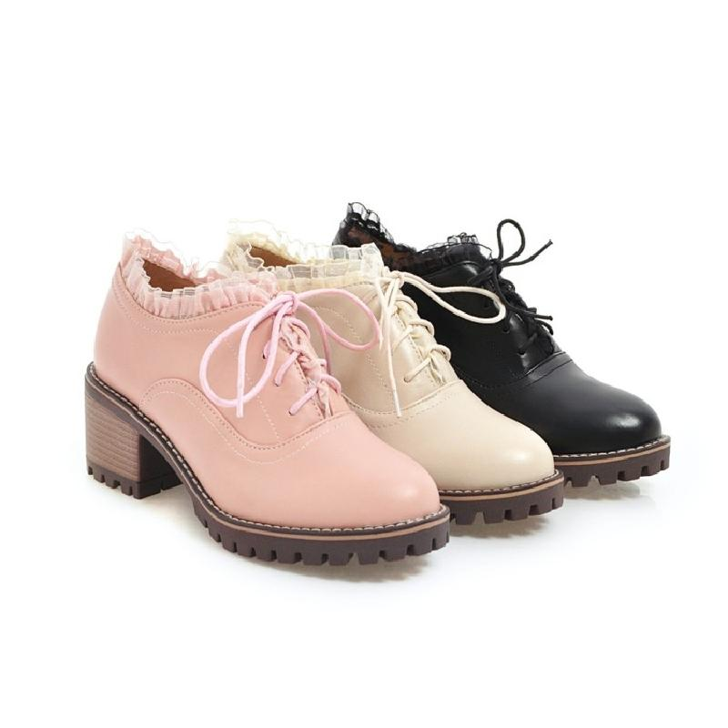 Talón Bombas beige A Estilo pink Las Casuales Oxford Tacón Grueso Otoño Mujer Encaje Británico Black Para Mujeres Alto De Zapatos wqUgav8x