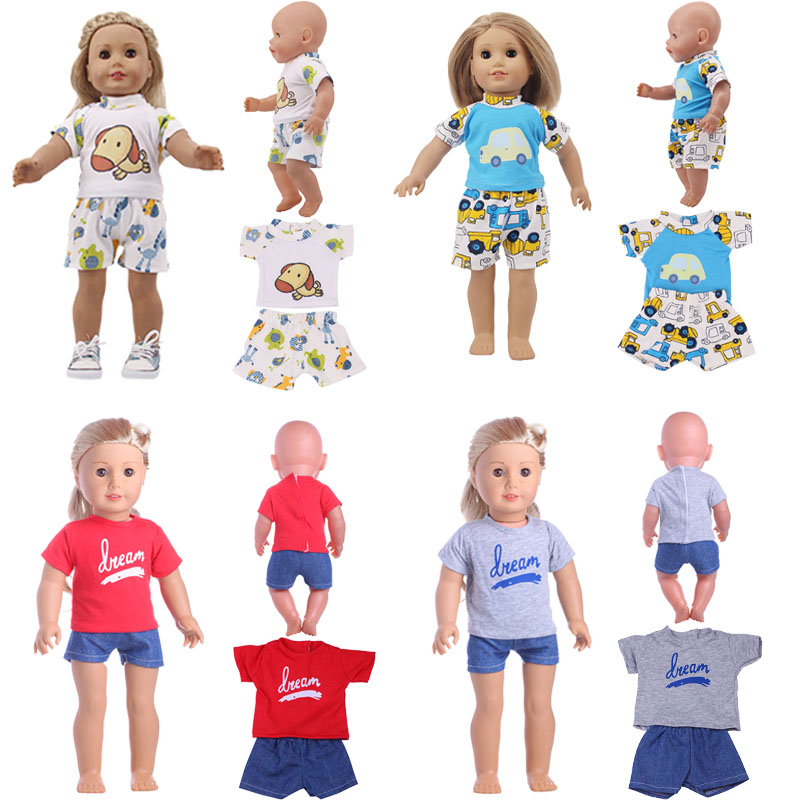 LUCKDOLL 2 Piece Set Cartoon Print Casual Wear Fit 18 Inch US 43 Cm Doll Clothes Accessories, Girl Toys, Generation, Gift