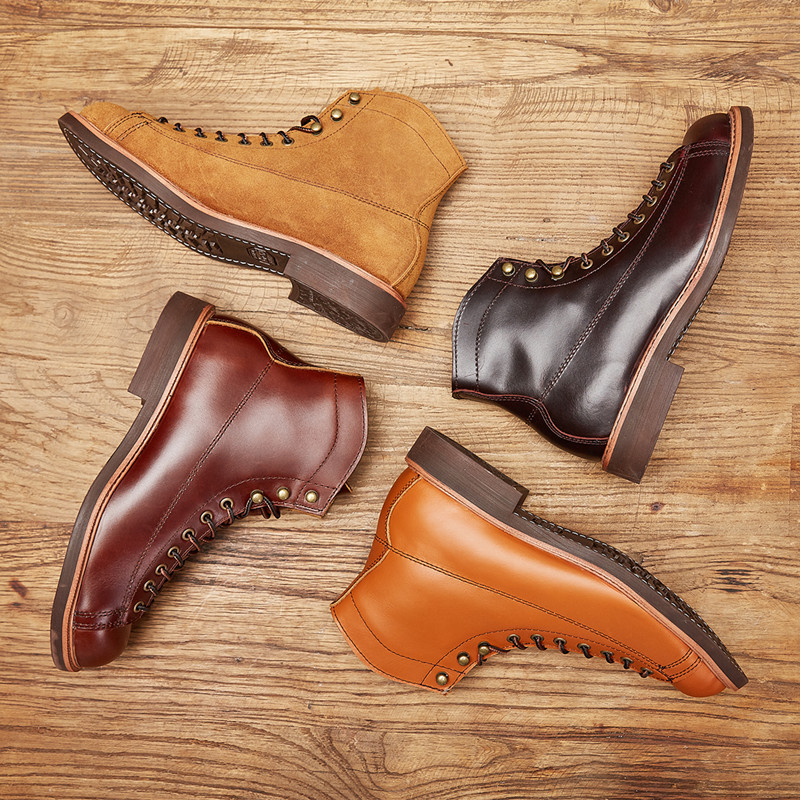 2019 Spring New Top Quality Men Red Boots Fashion Genuine Leather Luxury Brand Wings Formal Ankle Boots Winter Motorcycle Boots