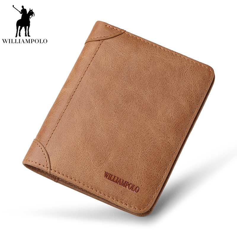 Williampolo Top Quality Genuine Leather Men Wallet Ultrathin Walets Male Coin Purse Passport holder Brand Perse Carteira PL263