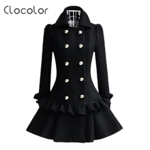 Clocolor Women Black Overcoat Korean Solid Color Falbala Pleated Double-Breasted Long Sleeve Slim Coats