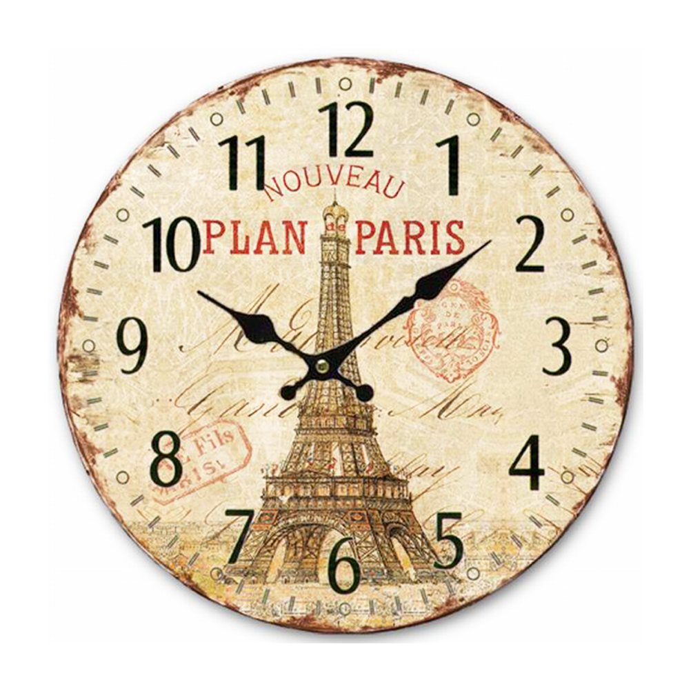 Vintage France Paris Colorful French Country Tuscan Style Non-Ticking Silent Wood Wall Clock with the Eiffel Tower