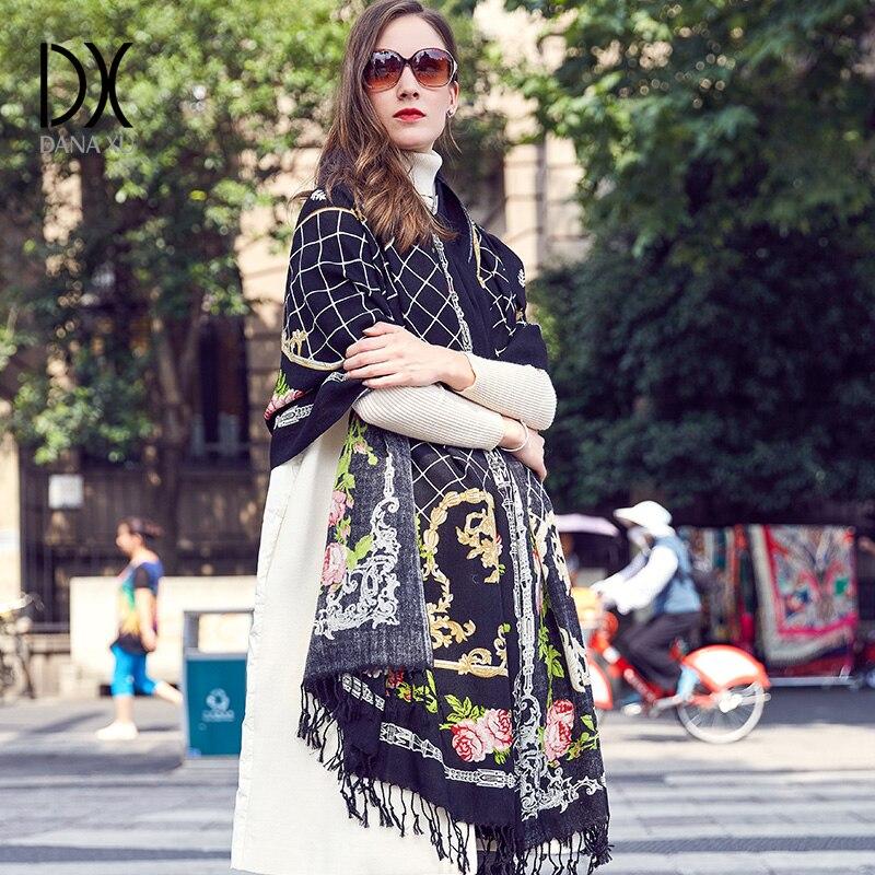 100% шерсть с квадратным носком шарфы Для женщин Элегантная дама Carf и теплый платок длинные животных печати палантины бандана шарф хиджаб пля...