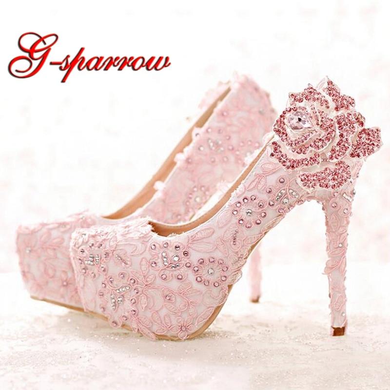 Fashion Pink Lace Bride Shoes Rhinestone Rose Flower High Heel Wedding Shoes Platform Round Toe Princess