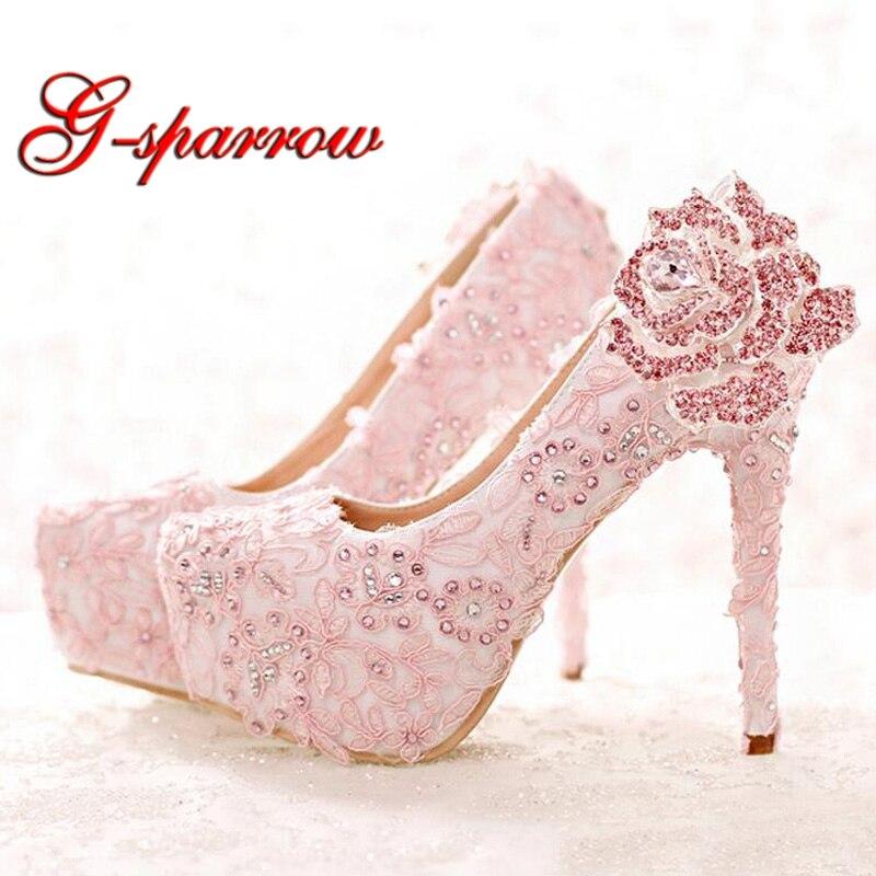 الأزياء الوردي الدانتيل العروس أحذية حجر الراين روز زهرة أحذية الزفاف منصة عالية الكعب جولة تو أحذية الأميرة مضخات prom-في أحذية نسائية من أحذية على  مجموعة 1