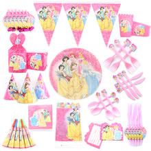 Princess Theme Cartoon Party Set Balloon Tableware Plate Napkins Banner Birthday Candy Box Baby Shower Party Decoration
