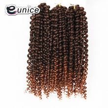 "Eunice Kanekalon Hair Ombre Extension Crochet Kinky Twist Hairstyles Natural Hair Bundles 10""Synthetic Hair for Braiding T1B/30(China)"