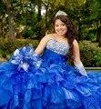 Azul royal 2017 vestido de baile quinceanera vestidos em camadas ruffles sweet 16 Anos Da Princesa Vestidos Para crianças de 15 Anos Vestidos De 15 Anos