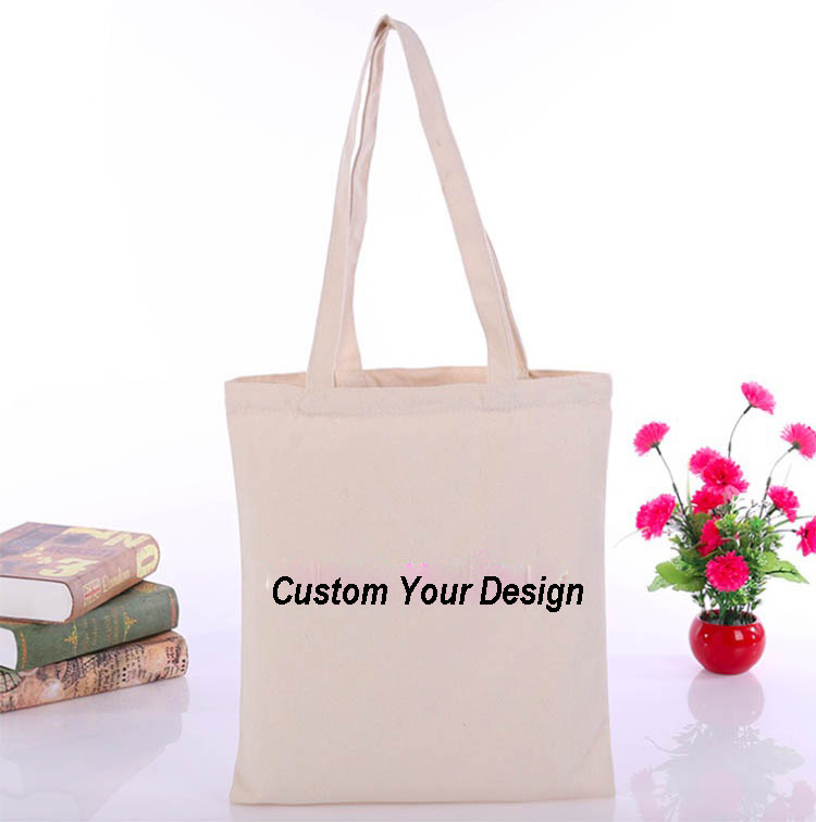 100 Pcs/Lot Customized Logo Tote Bag Cotton Shopping Bag Plain Nature Cotton Canvas Shoulder Bags No Zipper Inside