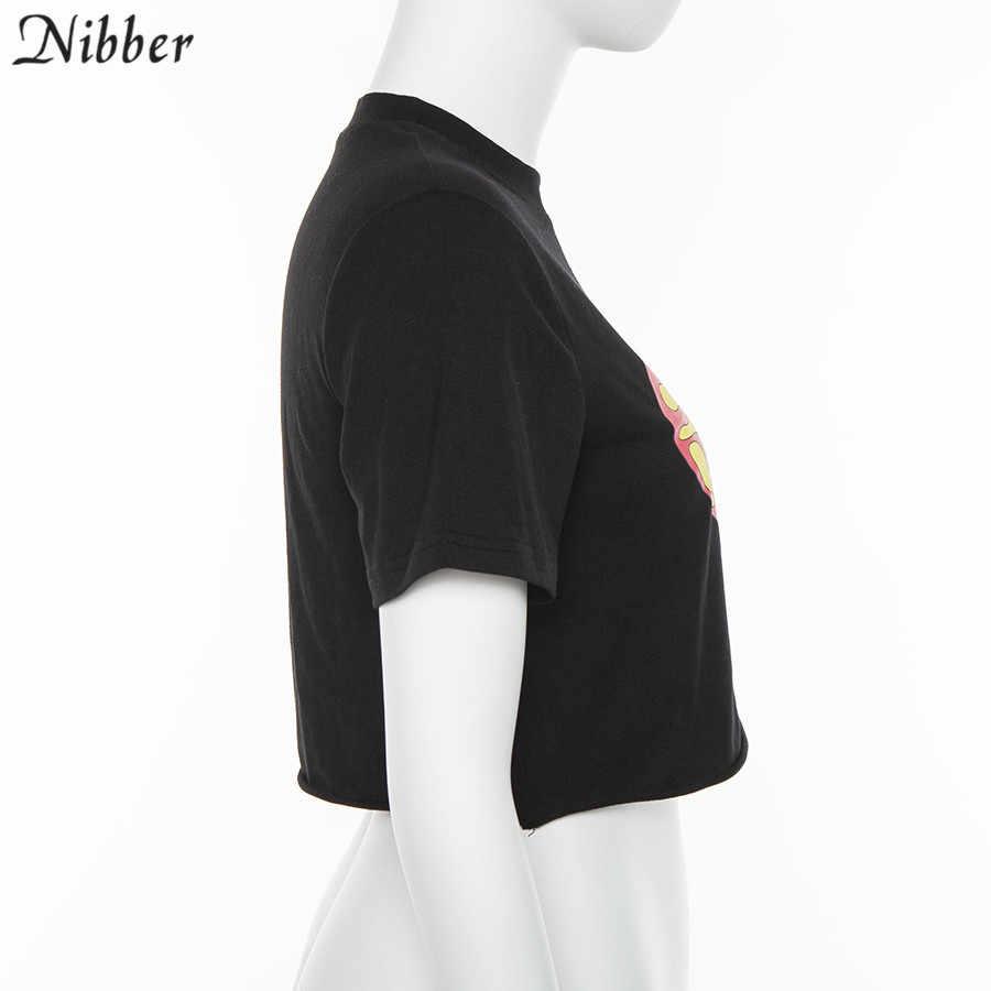Nibber2019summer Kaos Fashion Anak Perempuan Lengan Pendek O Leher Kapas Crop Top Wanita Kasual Hitam Stretch Slim Lembut Tees