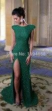 Grün Quadratischen Ausschnitt Mermiad Prom Kleider Hohe Slit Bodenlangen Pailletten Spitze Party Kleid Formale Abendkleider Kappen-hülsen 2014