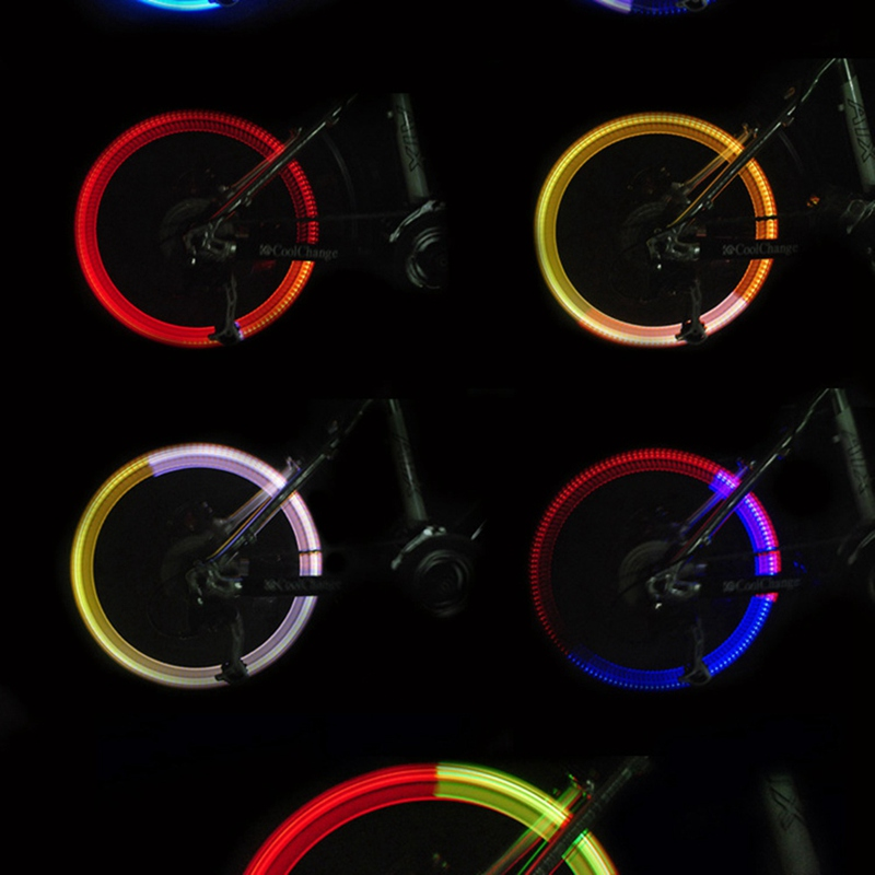 1PC Outdoor Bicycle LED Neon Wheel Glow Stick Light Cycling Drving Colorful
