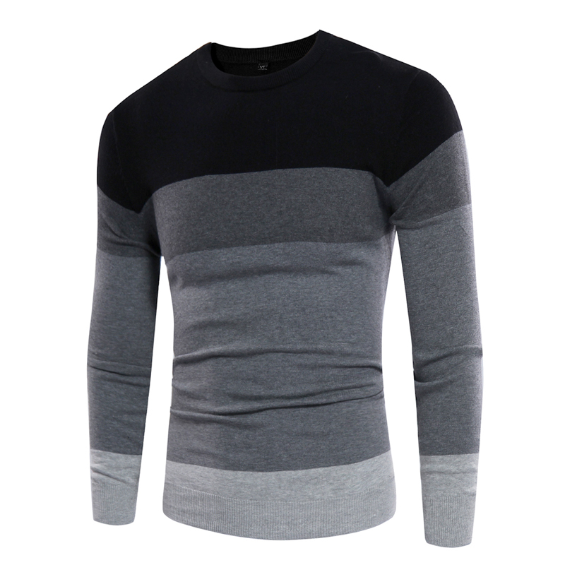 Sweater Pullover Knitted Cashmere Round-Neck Male Men Casual Autumn Patchwork Homme