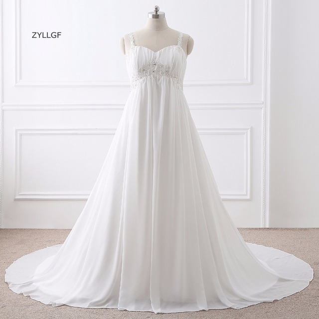 80cde1b3069 ZYLLGF Vestido De Noiva Estilo Princesa Corset Back Sweetheart Empire Waist Wedding  Dress Large Size With Beadings Q99