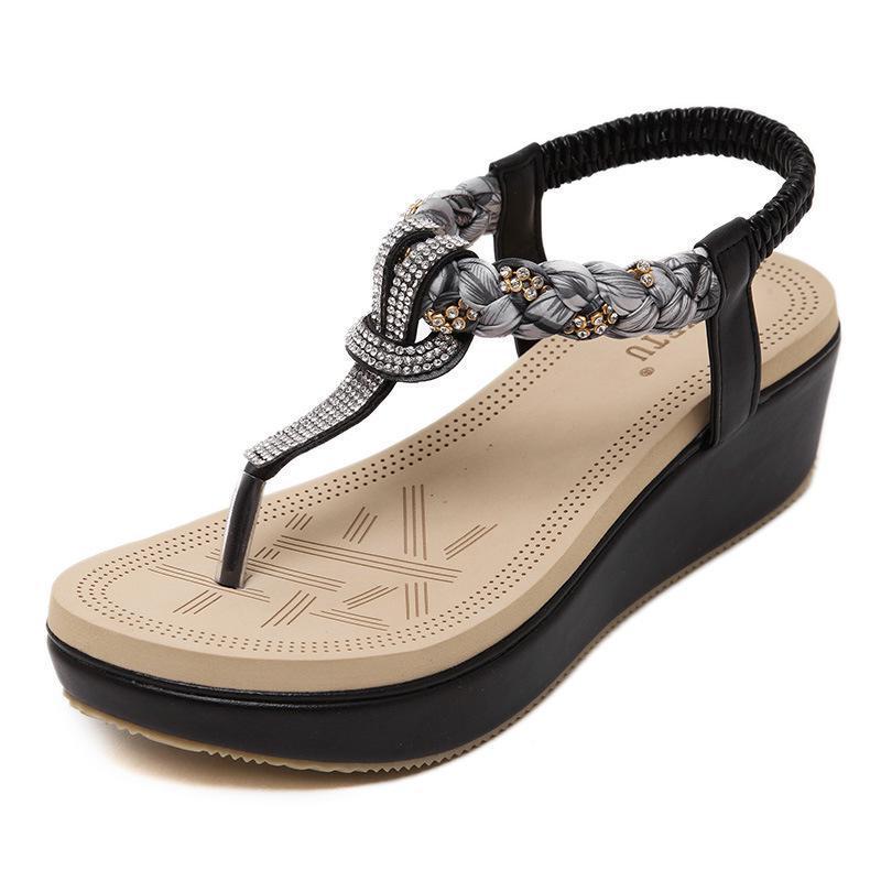 42 Sandales Coins Taille forme Cuir Confortable 35 Femmes Strass En Noir Chaussures ~ Doux Plage Plate Apricot Grande Abricot black D'été N8nymw0vO