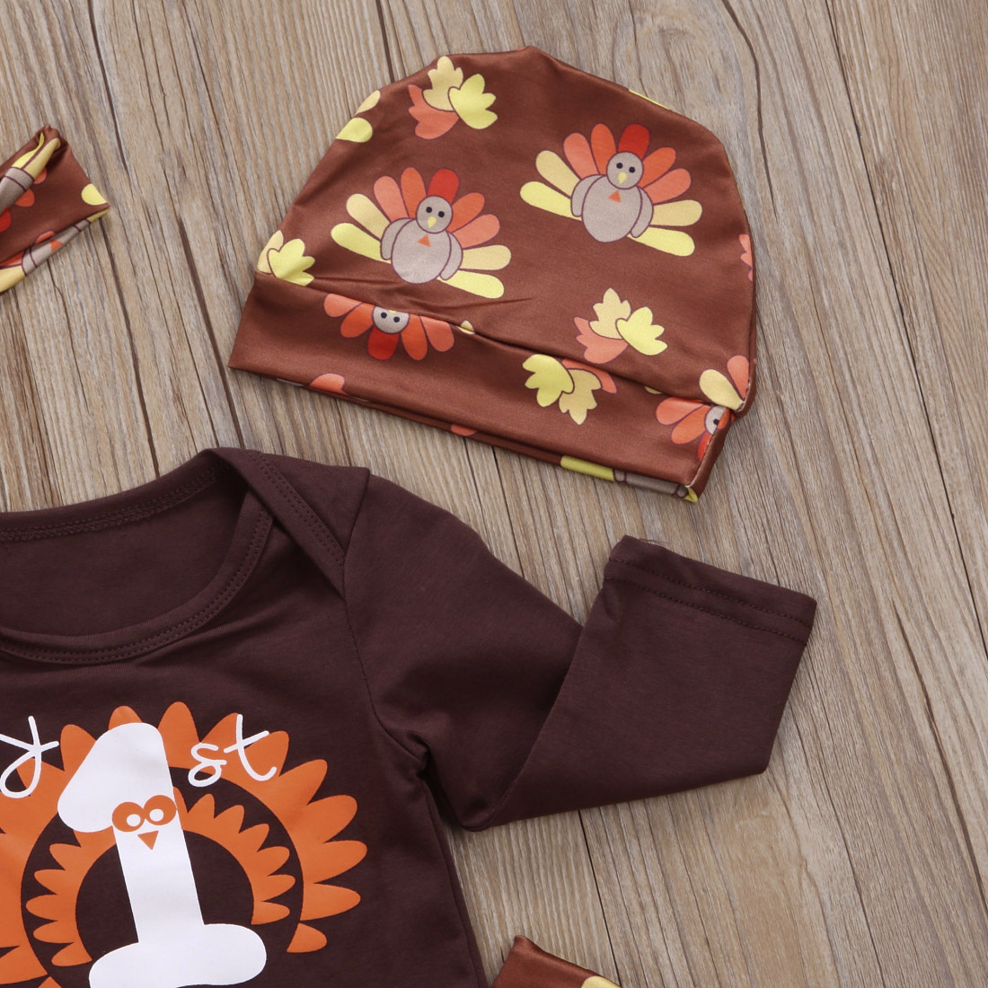 e9d807de018b HIRIGIN Newest Thanksgiving Newborn Baby Boys Girls Rompers+Pants+Hat+Headband  4Pcs Set Clothes Autumn Casual Outfits 0 24M-in Clothing Sets from Mother  ...