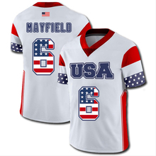 Mens American Football USA Flag Team Jersey 6 Baker Mayfield Jerseys Print  Name And Number No Fade a7c3ad466