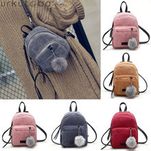 Fashion Women Teenager Young Girls Solid Small School Backpack Shoulder Bags Travel Mochila Corduroy Backpack Purse