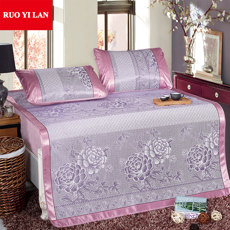 Three-piece Folding Bed-mat for Summer Viscose Fiber Jacquard Summer Sleeping Mat Kit fo ...