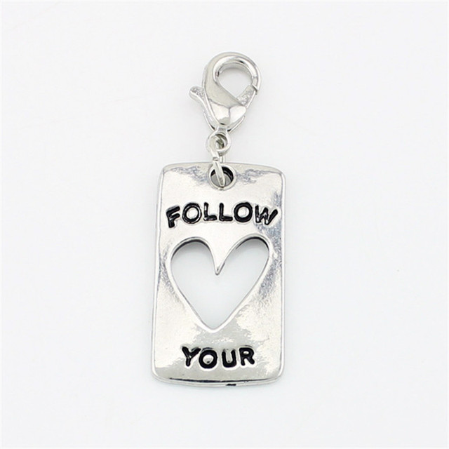 10pcslot Hot Sale Silver Follow Your Heart Plate Floating Locket