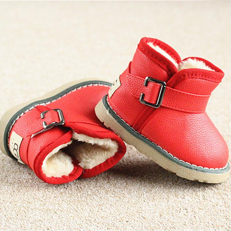Winter Warm Boots child/kid/girl/boy Warm Bootst antislip sole short boots waterproof leather cotton-padded shoes