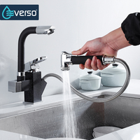 EVERSO Solid Brass Kitchen Faucet Double Spouts 360 Degree Pull Out Kitchen Faucet Kitchen Tap Sink