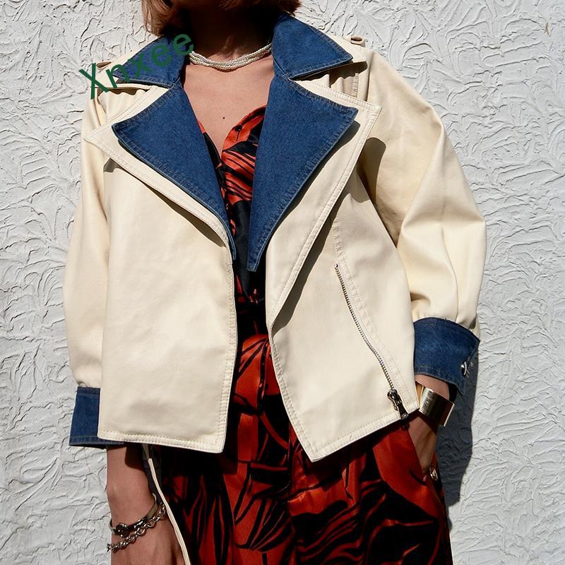Xnxee 2019 New Autumn Women Loose Soft Faux   Leather   Jackets Lady Free Denim Patchwork PU Sleeve Coats Streetwear Black Beige