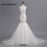New Long Wedding Dresses Lace Appliques Mermaid 2017 Sexy Illusion Backless Cheap Bridal Gowns Wedding Dress