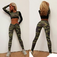 Camo Patchwork Elastic Yoga Set Sports Pants And Sports Shirts Wick Workout Clothing Yoga Pants T