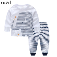 2016 Spring Autumn Baby Boy Clothes Sets Cotton Baby Clothing Elephant Long Sleeve Tops Striped Pants
