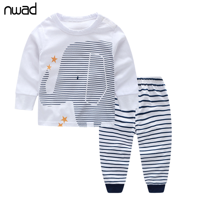 NWAD Baby Boy Clothes Infant Baby Boy Clothing Sets For Newborn Elephant print Long Sleeve Tops+Striped Pants 2017 Autumn FF013 от Aliexpress INT