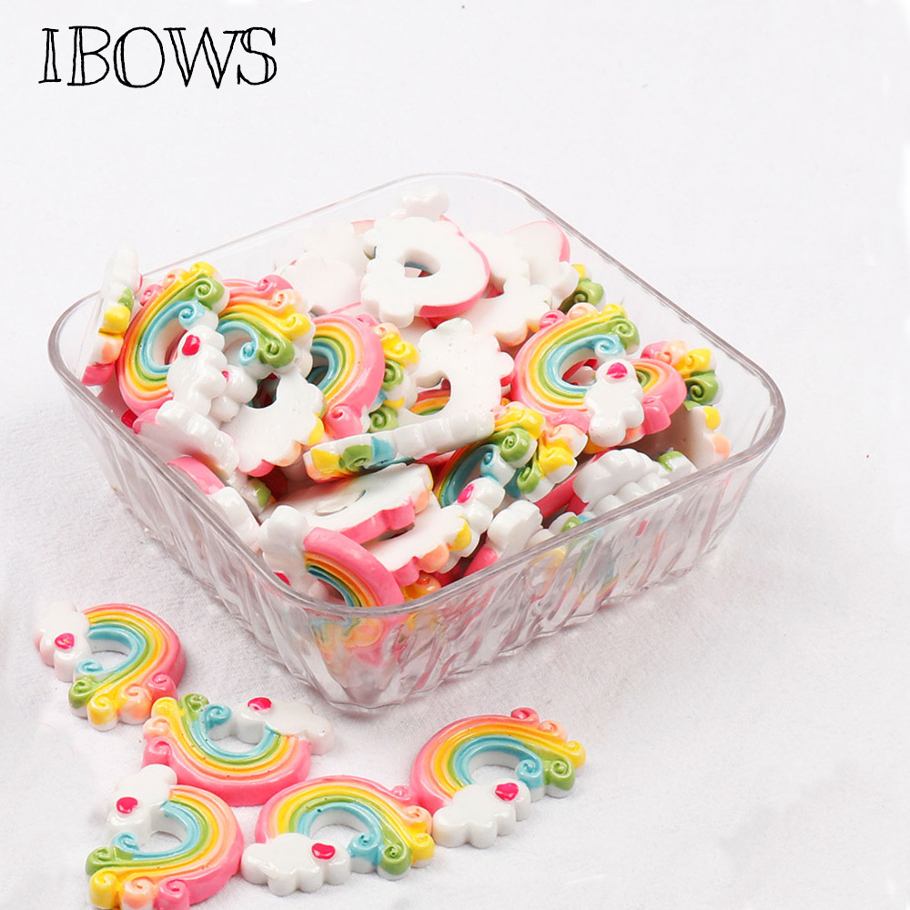 IBOWS Flat Back Rainbow Resin Rainbow Cloud Cabochons Resin DIY Hair Bows Clips Embellishment Accessories Crafts Resin 10pcs