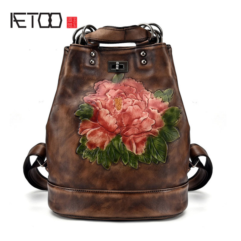 AETOO New leather retro shoulder bag multifunctional backpack single shoulder casual fashion women s bag