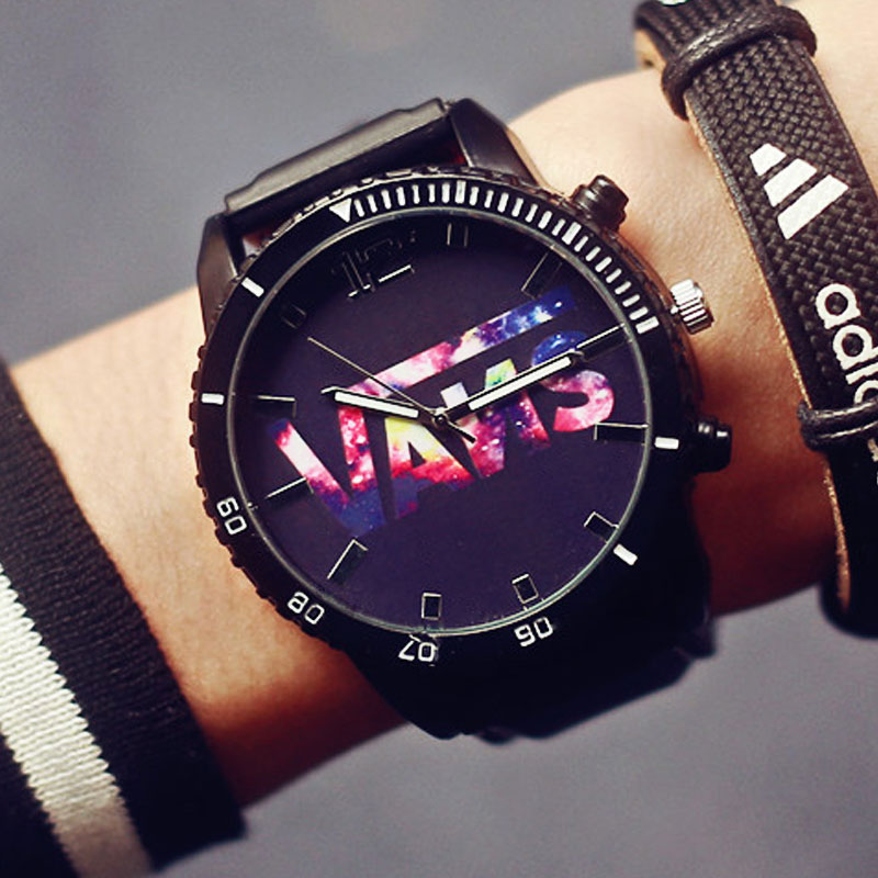 Large Dial font b Watch b font Star student Personality Neutral Silicone Watchband Sport Style Fashion