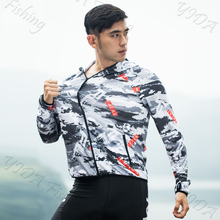 Outdoor Hooded Fishing Clothing Quick-Drying Sun Protection Mens Short T-Shirt Anti-UV Hiking Cycling Clothes