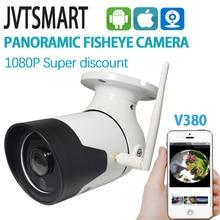 Jvtsmart Panorâmica CCTV Ao Ar Livre Sem Fio Wi fi Câmera 1080 P 360 Graus Wide Angle À Prova D Água Bala Câmera de Segurança do metal v380