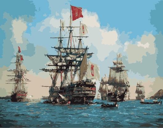 Подставил парусник на море картина маслом DIY краски по номерам 50 x 40 см ( 20 x 16 '' ) PBN YZ7368