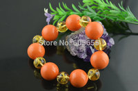 Orange Color 18mm Big Size MOP Shell and Carved Gold Dragon Crystal Round Beads Stretch Bracelets Fashion Man's Jewelry