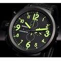 50 мм часы parnis с большим циферблатом уход за кожей лица черный циферблат PVD Дело день дата Мужские кварцевые часы водонепроницаемые часы хрон...