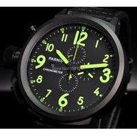 Saatler'ten Kuvars Saatler'de 50mm Parnis büyük yüz siyah kadran PVD kılıfı günü tarihi erkek quartz saat tam chronograph P76