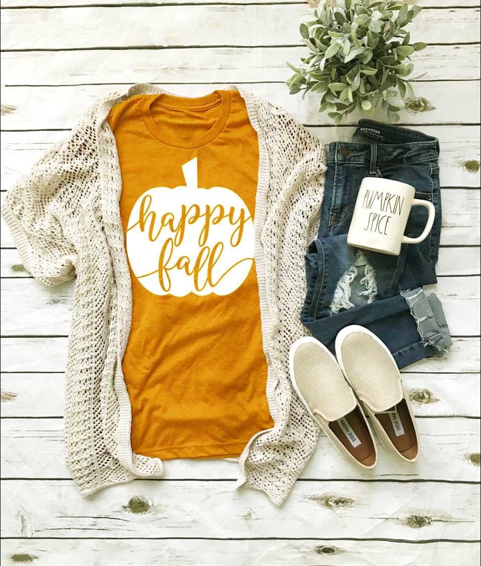 Happy Fall Shirt T-shirt New Season Funny Pumpkin Graphic Good Elasticity Autumn Yellow Pretty Cotton Casual Shirt Quote Tee Top